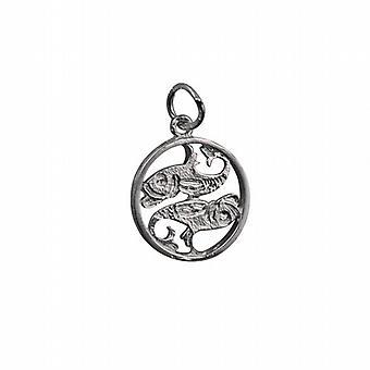 Silver 11mm pierced Pisces Zodiac Pendant