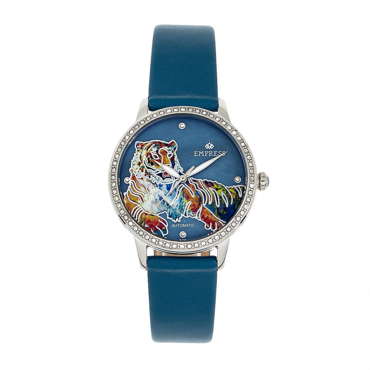 Empress Diana Automatic Engraved MOP Leather-Band Watch - Blue