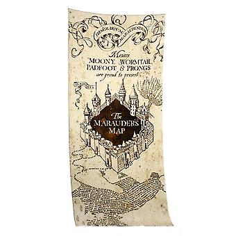 Harry Potter XL towel Marauder's map beach towel Brown/natural, printed, 50% cotton, 50% polyester velour cloth.