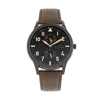 Elevon Turbine Leather-Band Watch - Black/Olive