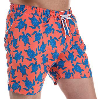 Mens Henleys Turtle Patterned Swim Short In Orange Blue