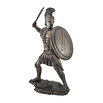 Bronzed Spartan Warrior with Sword and Hoplite Shield Statue
