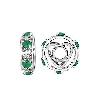 Storywheels Silver & Emerald Heart Wheel Charm S091E