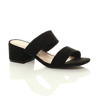 Ajvani Womens mid block heel slip on casual flip flop strappy mules sandals