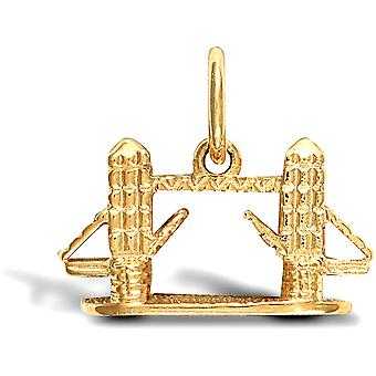 Jewelco London Solid 9ct Yellow Gold River Thames Tower Bridge Charm Pendant