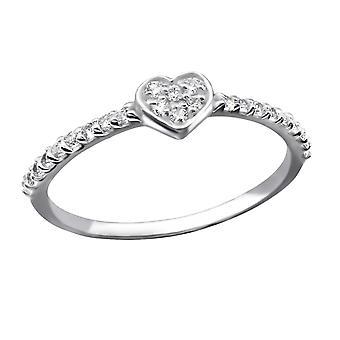 Heart - 925 Sterling Silver Jewelled Rings - W25232x