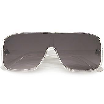 Grande escudo futurista styling Flat Top Temple Lens óculos de sol 53mm