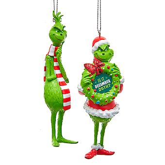 Kurt Adler Grinch Licensed Holiday Ornaments Set of 2 Green 4.25 Inch