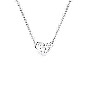 Elli-Sterling 925 zilveren ketting-ruitvormig-40 cm lengte-voor vrouwen