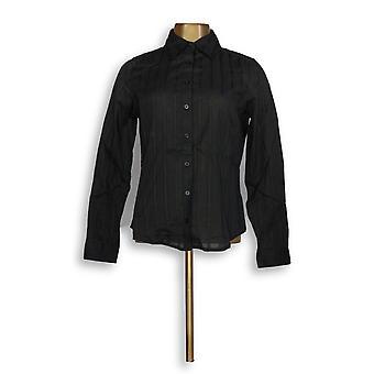 Liz Claiborne York Satin Ribbon Textured Shirt Black A212054