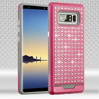 ASMYNA Hot Pink/Iron Gray Diamante FullStar Protector Cover för Galaxy Note 8