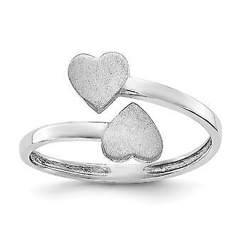 14k White Gold Satin Polished Double Heart Toe Ring Bijoux Bijoux pour les femmes - .9 Grammes