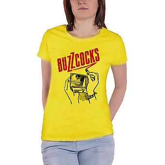 Buzzcocks T Shirt Lipstick Skeleton Logo Official Womens New Yellow Skinny Fit