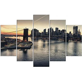 Five Part Picture On Canvas, Pentaptych, Type A, The Brooklyn Bridge In New York City