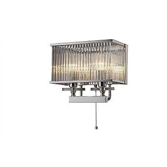 Diyas Vanessa Wall Lamp Switched 2 Light Polished Chrome/Crystal