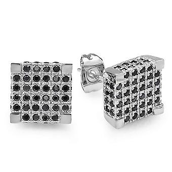 Platinum Plated With Black CZ Cubic Zirconia Cube Shaped Hip Hop Mens 9.5 mm Iced Cube Stud Earrings