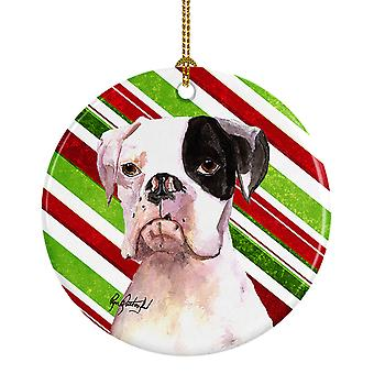 Carolines Treasures  RDR3002CO1 Cooper Candy Stripe Boxer Christmas Ceramic Orna