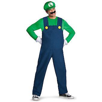 Luigi Deluxe Nintendo Super Mario Bros Videojuego Plumber Hombres Traje L/XL