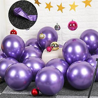 10x Glossy pearl inflatable chrome balloons metallic purple