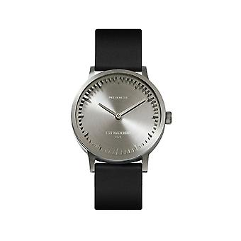Leff Amsterdam LT74111 Black Leather T32 Steel Tube Wristwatch