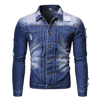 Allthemen Men's Slim Fit Fashion Casual Hole Denim Jacket
