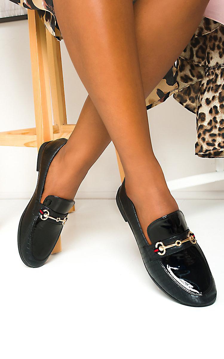 IKRUSH Womens Laney Croc Print Brogue Sandals
