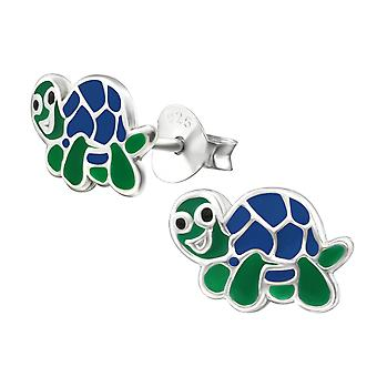 Turtle - 925 Sterling Silver Colourful Ear Studs - W14156x