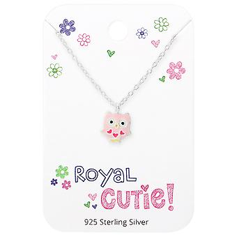 Owl Necklace On Royal Cutie Card - 925 Sterling Silver Sets - W35923x