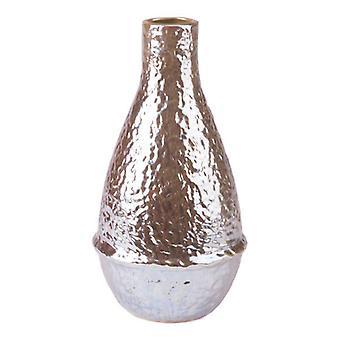 "7.3"" X 7.3"" X 13.4"" Pearl Yellow Ceramic Textured Vase"