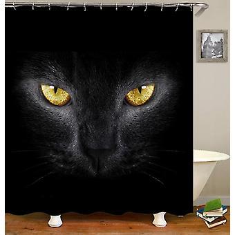 Yellow Eyes Black Cat Shower Curtain