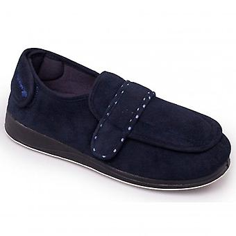 Padders Enfold Ladies Microsuede Extra Wide (2e) Full Slippers Navy