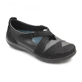 Padders Basset السيدات الجلود اضافية واسعة (2e/3e) أحذية سوداء