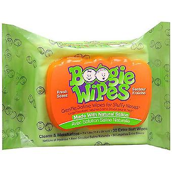 Boogie wipes gentle saline wipes for stuffy noses, fresh scent, 30 ea