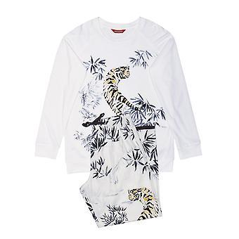 minijammies 5528 jente's willow elfenben av hvit tiger print bomull vevd pyjamas sett