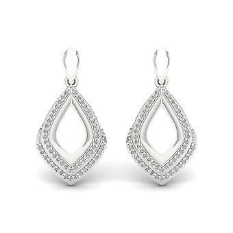 Boucles d'oreilles en diamant naturel dangled certifiés Igi s925 sterling 0,25 ct