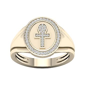 IGI Certified 10K Yellow Gold 0.15Ct TDW Natural Diamond Venus Sign Men's Ring