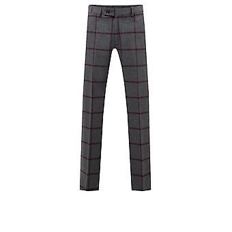 Dobell Mens Grey Tweed Trousers Regular Fit Burgundy Windowpane Check