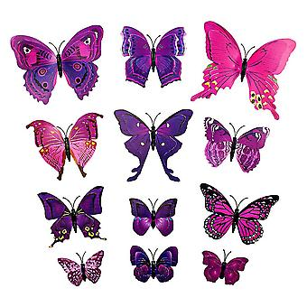 12pcs Paarse decoratieve 3D vlinders in papier voor muren