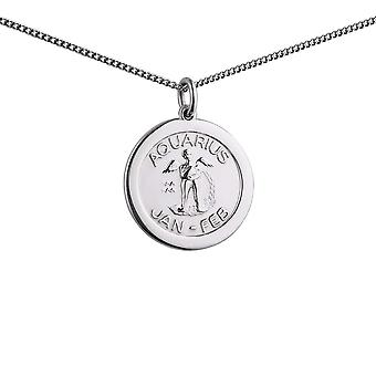 Silver 22mm round Aquarius Zodiac Disc Pendant with a 1.3mm wide curb Chain 24 inches