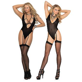 Womens Opaque Teddy Bodysuit and Stocking Set- Deep V Strappy & Adjustable Garters Lingerie Pack