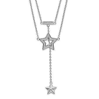 925 Sterling Silver Rhodium plated 2 strand CZ Cubic Zirconia Simulated Diamond Star With 1in. Ext. Necklace 16 Inch Jew