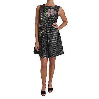 Dolce & Gabbana Tulipa Cinza Bordada A-Line Shift Dress