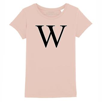 STUFF4 Girl's Round Neck T-Shirt/Alphabet Letter Initial W/Coral Pink