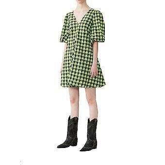 Ganni F3574312 Women's Black/green Cotton Dress