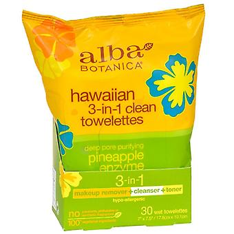 Alba botanica hawaiian 3-in-1 clean towelettes, pineapple enzyme, 30 ea
