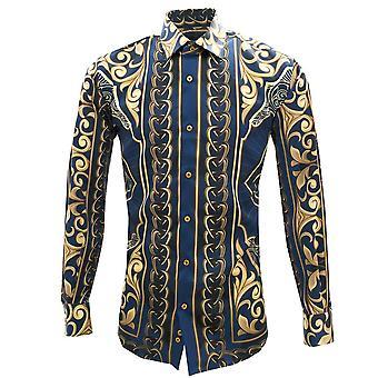 Oscar Banks Blue And Gold Chains Print Satin Long Sleeve Mens Shirt