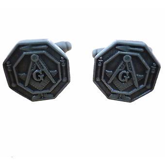 Octagonal masonic lodge cufflinks
