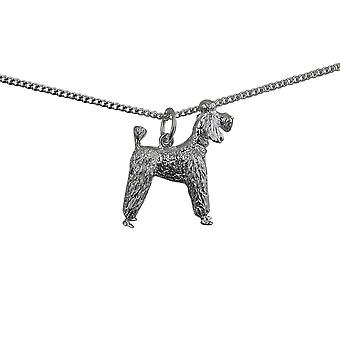 Silver 23x19mm Poodle Pendant with a curb Chain 24 inches