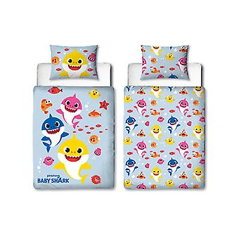 Baby Shark Fishes 4 in 1 Junior Bedding Bundle Set (Duvet, Pillow and