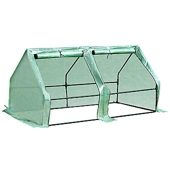 Outsunny 180 x 90 x 90 cm Steel Frame Poly Tunnel Steeple Greenhouse - Green